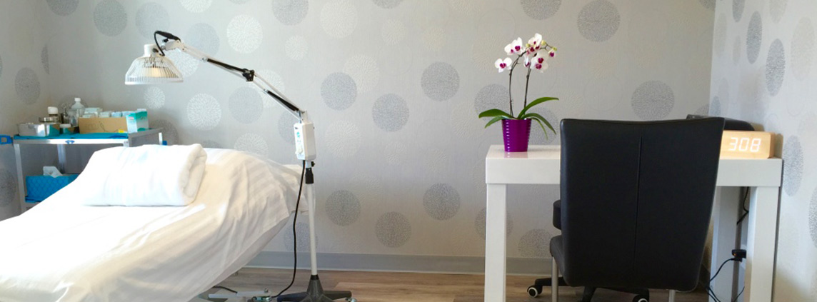 BlueWhite Health Treatment Room with purple flowers